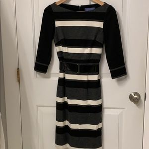 Kay Unger New York Jersey Knit Color Block Dress.